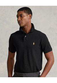 Ralph Lauren - RALPH LAUREN - Czarna koszulka polo z haftowanym logo. Typ kołnierza: polo. Kolor: czarny. Materiał: bawełna. Wzór: haft