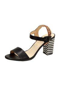Czarne sandały Sabatina na obcasie, na średnim obcasie