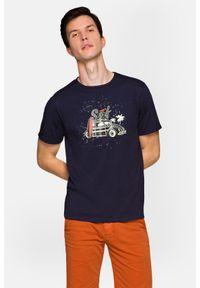 Lancerto - Koszulka Granatowa Arlo. Okazja: na co dzień. Kolor: niebieski. Materiał: włókno, materiał, bawełna. Wzór: aplikacja, nadruk. Styl: klasyczny, elegancki, casual