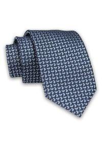 Granatowo-Niebieski Męski Krawat -Chattier- 7 cm, Klasyczny, Elegancki, w Drobny Wzór Geometryczny. Kolor: niebieski. Materiał: tkanina. Wzór: geometria. Styl: klasyczny, elegancki