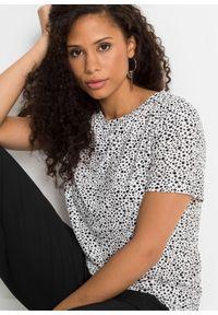 Shirt z nadrukiem bonprix biało-czarny w kropki. Kolor: biały. Długość rękawa: krótki rękaw. Długość: krótkie. Wzór: kropki, nadruk