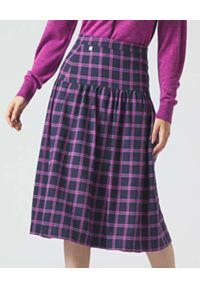 Manila Grace - MANILA GRACE - Dwukolorowa spódnica w kratę. Kolor: niebieski. Wzór: aplikacja