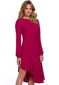 Makover - Asymetryczna sukienka z falbaną w stylu flamenco. Typ sukienki: asymetryczne