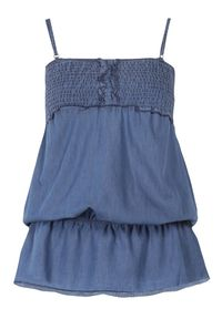 Born2be - Niebieska Bluzka Rhaenophi. Typ kołnierza: kołnierz z falbankami. Kolor: niebieski. Materiał: bawełna, jeans. Długość rękawa: na ramiączkach