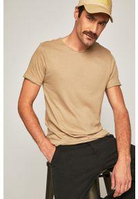 Beżowy t-shirt Brave Soul casualowy, gładki, na co dzień