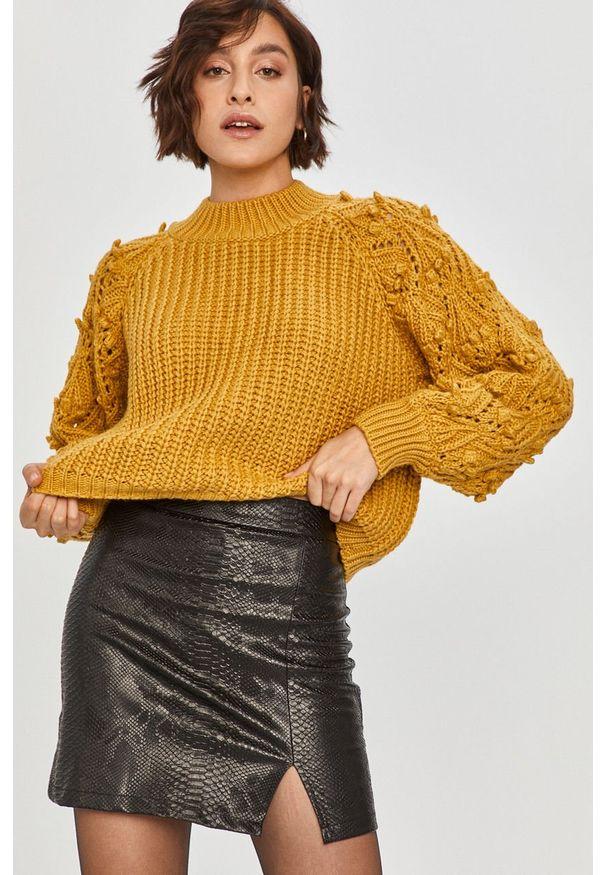 Żółty sweter Answear Lab długi, na co dzień, z długim rękawem, wakacyjny