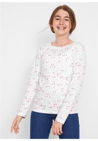 Różowa bluzka bonprix w paski, długa, z długim rękawem