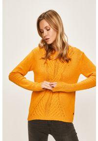 Roxy - Sweter. Okazja: na co dzień. Kolor: żółty. Materiał: dzianina. Wzór: ze splotem. Styl: casual