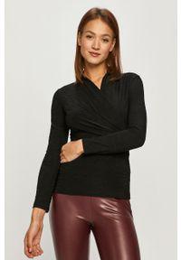 Czarna bluzka DKNY z długim rękawem, casualowa, na co dzień, długa