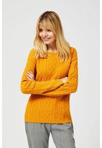 Żółty sweter MOODO z klasycznym kołnierzykiem, klasyczny, z długim rękawem