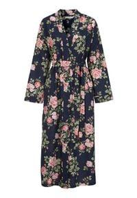 Cellbes Wzorzyste kimono w kwiaty granatowy female ze wzorem/niebieski 42/44. Kolor: niebieski. Materiał: tkanina, bawełna. Wzór: kwiaty