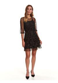TOP SECRET - Tiulowa sukienka w kropki. Okazja: na imprezę, na co dzień. Kolor: czarny. Materiał: tiul. Wzór: kropki. Sezon: zima. Styl: casual