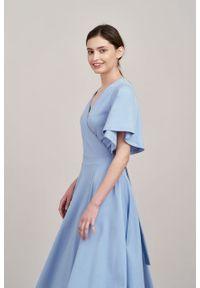 Marie Zélie - Sukienka Eudora blask lawendy. Materiał: dzianina. Typ sukienki: kopertowe