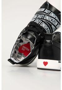 Czarne tenisówki Love Moschino z okrągłym noskiem, z cholewką, na sznurówki