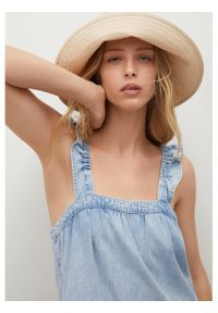 mango - Mango Sukienka jeansowa Sibila 17041509 Niebieski Regular Fit. Kolor: niebieski. Materiał: jeans