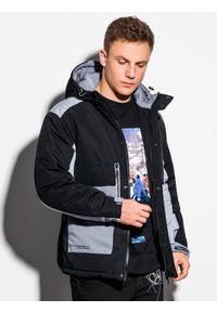 Ombre Clothing - Kurtka męska zimowa C460 - czarna - XXL. Kolor: czarny. Materiał: poliester. Sezon: zima
