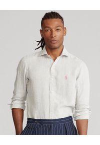 Ralph Lauren - RALPH LAUREN - Lniana koszula Slim Fit. Typ kołnierza: polo. Kolor: szary. Materiał: len. Długość rękawa: długi rękaw. Długość: długie. Wzór: haft