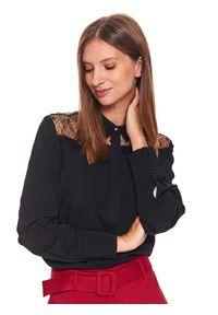 TOP SECRET - Koszula z koronkowymi wstawkami. Kolor: czarny. Materiał: koronka. Długość rękawa: długi rękaw. Długość: długie. Sezon: jesień, zima. Styl: elegancki