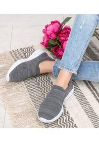 Szare buty sportowe NEST trekkingowe, bez zapięcia, w kolorowe wzory