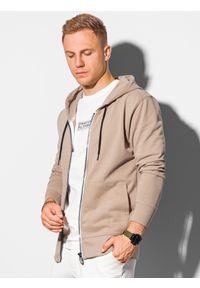 Ombre Clothing - Bluza męska rozpinana z kapturem B1145 - beżowa - XXL. Typ kołnierza: kaptur. Kolor: beżowy. Materiał: bawełna. Styl: klasyczny