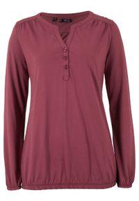 Czerwona bluzka bonprix z kołnierzem typu henley