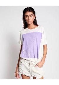 ONETEASPOON - Biały t-shirt Purple. Kolor: biały. Materiał: bawełna. Wzór: napisy, nadruk