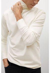 Biała koszulka z długim rękawem Mango Man casualowa, z golfem, na co dzień