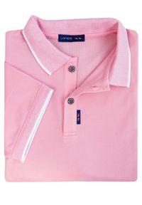 Lanieri Fashion - Męska koszulka polo - jasny róż KP8. Typ kołnierza: polo. Kolor: różowy. Materiał: bawełna, materiał. Długość: krótkie. Wzór: kratka, kolorowy