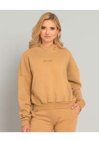 SELF LOVE - Beżowa bluza z kapturem Menfi. Typ kołnierza: kaptur. Kolor: beżowy. Materiał: bawełna, dresówka. Długość rękawa: długi rękaw. Długość: długie