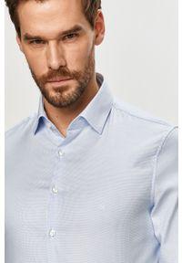 Niebieska koszula Calvin Klein z klasycznym kołnierzykiem, gładkie, długa