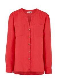 Cellbes Lniana koszula z drewnianymi guzikami czerwony female czerwony 34/36. Typ kołnierza: dekolt w serek, kołnierzyk stójkowy. Kolor: czerwony. Materiał: len. Długość rękawa: długi rękaw. Długość: długie. Styl: elegancki