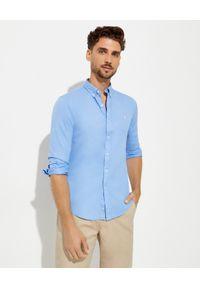Ralph Lauren - RALPH LAUREN - Niebieska koszula Oxford Slim Fit. Typ kołnierza: button down, polo. Kolor: niebieski. Materiał: bawełna. Długość rękawa: długi rękaw. Długość: długie. Wzór: haft