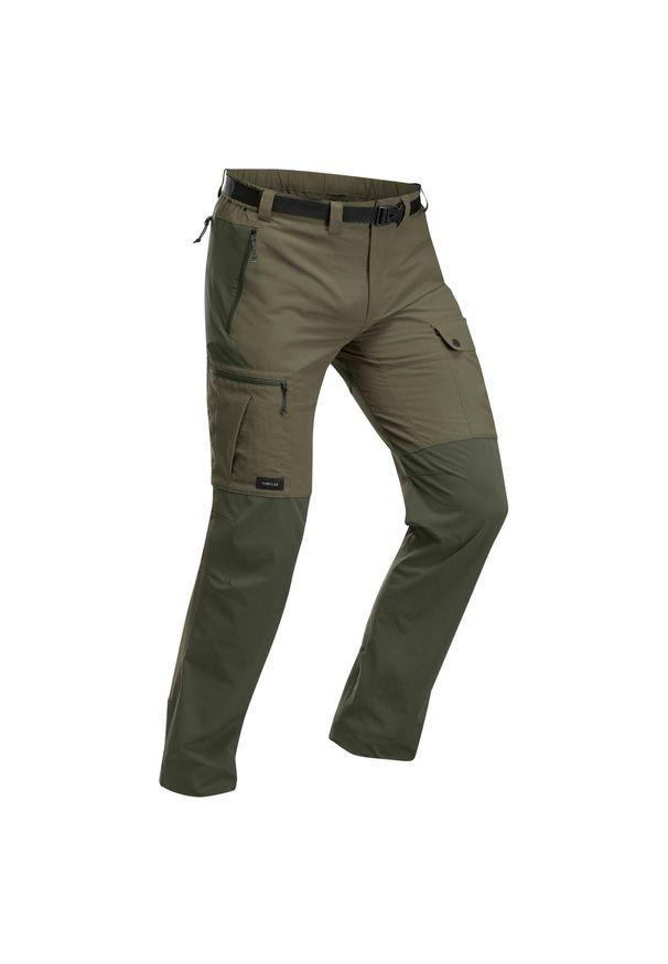 FORCLAZ - Spodnie trekkingowe - Trek 500 - męskie. Kolor: szary, zielony, brązowy, wielokolorowy. Materiał: elastan, poliester, materiał, poliamid