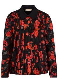 Tory Burch Koszula Floral Print Pleated Shirt 61184 Czarny Regular Fit. Kolor: czarny. Wzór: nadruk