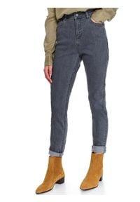 TOP SECRET - Spodnie jeansowe slim fit. Okazja: na co dzień. Stan: podwyższony. Kolor: szary. Materiał: jeans. Sezon: wiosna. Styl: casual