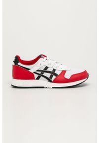 Czerwone sneakersy Asics z cholewką, na sznurówki, z okrągłym noskiem