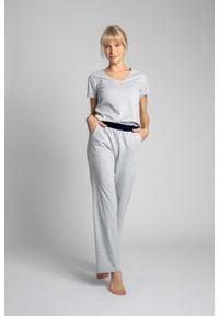 MOE - Długie Bawełniane Spodnie do Spania - Jasnoszare. Kolor: szary. Materiał: bawełna. Długość: długie