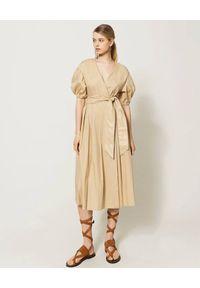 Beżowa sukienka TwinSet midi, elegancka, kopertowa