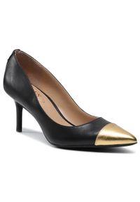 Czarne półbuty Lauren Ralph Lauren na średnim obcasie, eleganckie, na szpilce