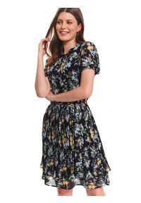 Czarna sukienka TOP SECRET casualowa, w kwiaty, z krótkim rękawem, na jesień