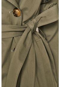 Miętowy płaszcz medicine raglanowy rękaw, bez kaptura, gładki, casualowy