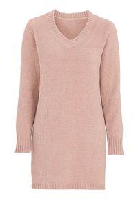 Różowa tunika Cellbes długa, elegancka, z długim rękawem, z dekoltem w serek