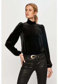 Czarna bluzka na co dzień, długa, casualowa, z golfem