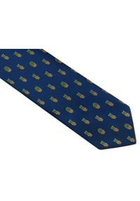 Modini - Granatowy krawat męski w kaktusy D117. Kolor: niebieski. Materiał: tkanina, mikrofibra