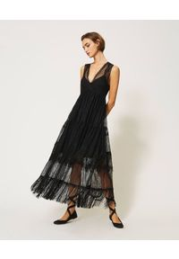 Czarna sukienka TwinSet na ramiączkach, prosta, maxi