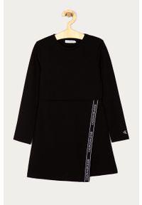 Czarna sukienka Calvin Klein Jeans z długim rękawem, prosta, na co dzień, mini