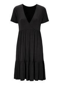 Czarna sukienka Happy Holly z krótkim rękawem, kopertowa, z dekoltem w serek