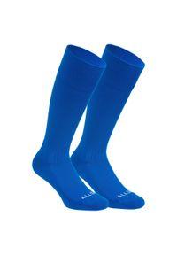 ALLSIX - Skarpety do gry w siatkówkę VSK500 wysokie. Kolor: niebieski. Materiał: elastan, poliamid. Wzór: paski. Sport: siatkówka