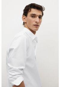 Biała koszula Mango Man z długim rękawem, na co dzień, długa