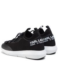 Czarne półbuty Karl Lagerfeld z cholewką, na płaskiej podeszwie